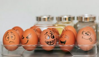 box of eggs with faces drawn on them