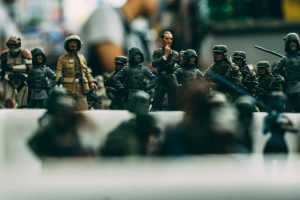 image of toy soldiers to show which tense to use when writing your novel